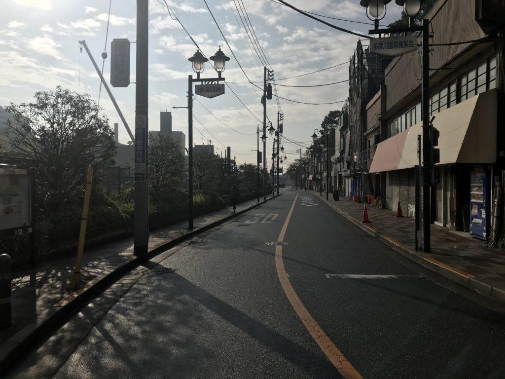 多摩川駅前の商店街