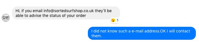 海外ショップの返事