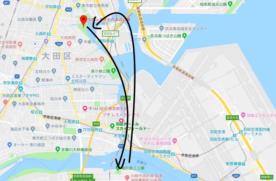 大森ふるさとの浜辺公園からSUPで海老取川方面を通り、多摩川を超えて川崎でランチして戻るコース