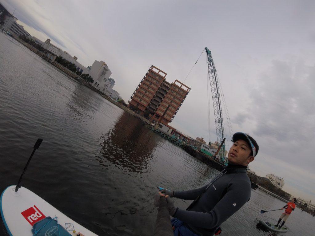 大森ふるさとの浜辺公園からSUPで海老取川方面へ行く様子