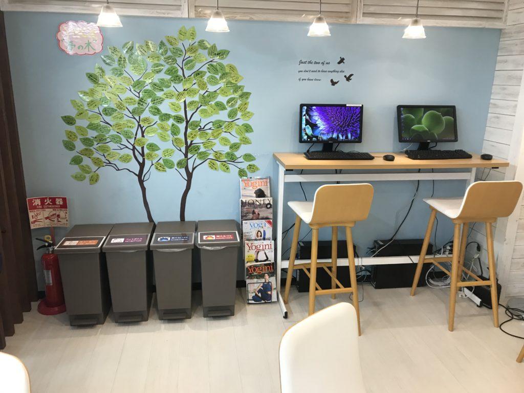 YMCヨガスタジオ東京・新宿店の店内の様子。